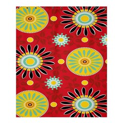 Sunflower Floral Red Yellow Black Circle Shower Curtain 60  X 72  (medium)