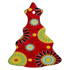 Sunflower Floral Red Yellow Black Circle Ornament (christmas Tree)