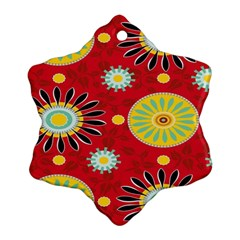 Sunflower Floral Red Yellow Black Circle Snowflake Ornament (two Sides)