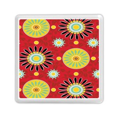 Sunflower Floral Red Yellow Black Circle Memory Card Reader (square)