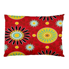 Sunflower Floral Red Yellow Black Circle Pillow Case (two Sides) by Alisyart