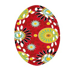 Sunflower Floral Red Yellow Black Circle Ornament (oval Filigree)
