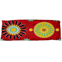 Sunflower Floral Red Yellow Black Circle Body Pillow Case Dakimakura (two Sides)