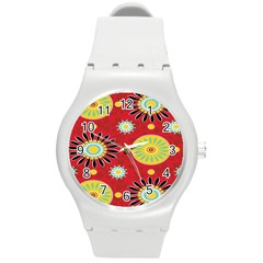 Sunflower Floral Red Yellow Black Circle Round Plastic Sport Watch (m) by Alisyart