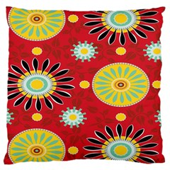 Sunflower Floral Red Yellow Black Circle Large Cushion Case (two Sides)