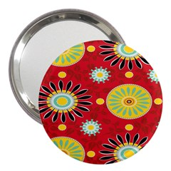 Sunflower Floral Red Yellow Black Circle 3  Handbag Mirrors