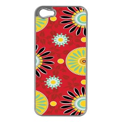 Sunflower Floral Red Yellow Black Circle Apple Iphone 5 Case (silver)