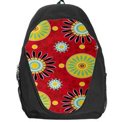 Sunflower Floral Red Yellow Black Circle Backpack Bag