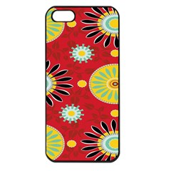 Sunflower Floral Red Yellow Black Circle Apple Iphone 5 Seamless Case (black)