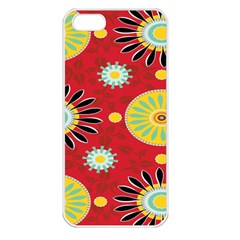 Sunflower Floral Red Yellow Black Circle Apple Iphone 5 Seamless Case (white)