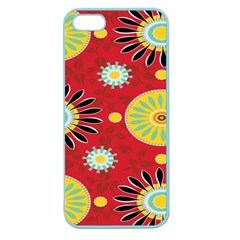 Sunflower Floral Red Yellow Black Circle Apple Seamless Iphone 5 Case (color)