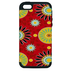 Sunflower Floral Red Yellow Black Circle Apple Iphone 5 Hardshell Case (pc+silicone)