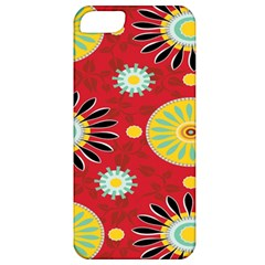 Sunflower Floral Red Yellow Black Circle Apple Iphone 5 Classic Hardshell Case