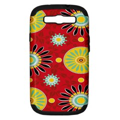 Sunflower Floral Red Yellow Black Circle Samsung Galaxy S Iii Hardshell Case (pc+silicone)