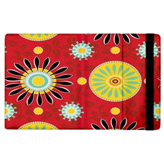 Sunflower Floral Red Yellow Black Circle Apple Ipad 2 Flip Case by Alisyart