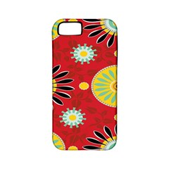Sunflower Floral Red Yellow Black Circle Apple Iphone 5 Classic Hardshell Case (pc+silicone)
