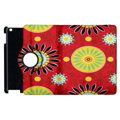 Sunflower Floral Red Yellow Black Circle Apple Ipad 2 Flip 360 Case by Alisyart