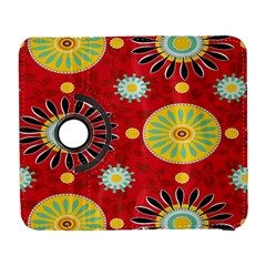 Sunflower Floral Red Yellow Black Circle Galaxy S3 (flip/folio) by Alisyart