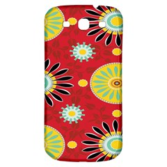 Sunflower Floral Red Yellow Black Circle Samsung Galaxy S3 S Iii Classic Hardshell Back Case by Alisyart