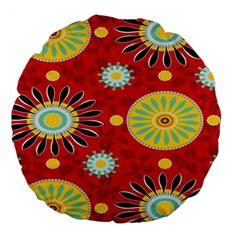 Sunflower Floral Red Yellow Black Circle Large 18  Premium Round Cushions