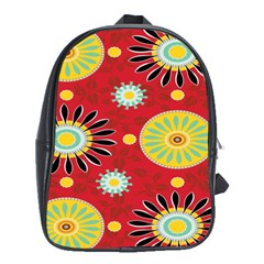 Sunflower Floral Red Yellow Black Circle School Bags (xl)  by Alisyart