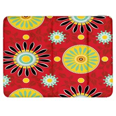 Sunflower Floral Red Yellow Black Circle Samsung Galaxy Tab 7  P1000 Flip Case