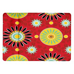 Sunflower Floral Red Yellow Black Circle Samsung Galaxy Tab 10 1  P7500 Flip Case