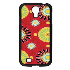 Sunflower Floral Red Yellow Black Circle Samsung Galaxy S4 I9500/ I9505 Case (black) by Alisyart