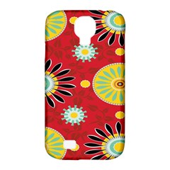 Sunflower Floral Red Yellow Black Circle Samsung Galaxy S4 Classic Hardshell Case (pc+silicone) by Alisyart