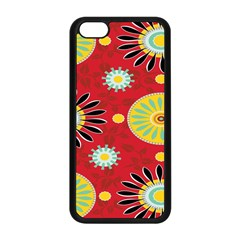 Sunflower Floral Red Yellow Black Circle Apple Iphone 5c Seamless Case (black)