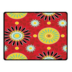 Sunflower Floral Red Yellow Black Circle Double Sided Fleece Blanket (small)  by Alisyart