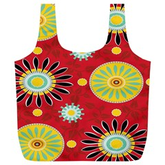 Sunflower Floral Red Yellow Black Circle Full Print Recycle Bags (l)