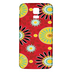 Sunflower Floral Red Yellow Black Circle Samsung Galaxy S5 Back Case (white) by Alisyart