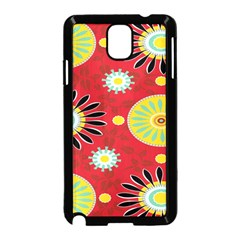 Sunflower Floral Red Yellow Black Circle Samsung Galaxy Note 3 Neo Hardshell Case (black) by Alisyart