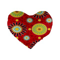 Sunflower Floral Red Yellow Black Circle Standard 16  Premium Flano Heart Shape Cushions by Alisyart