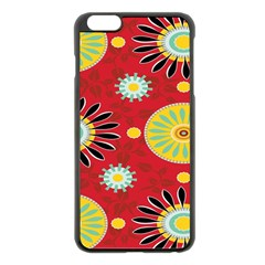 Sunflower Floral Red Yellow Black Circle Apple Iphone 6 Plus/6s Plus Black Enamel Case by Alisyart
