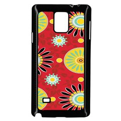 Sunflower Floral Red Yellow Black Circle Samsung Galaxy Note 4 Case (black)