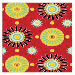 Sunflower Floral Red Yellow Black Circle Large Satin Scarf (square)