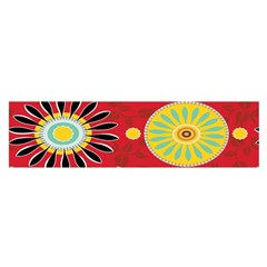 Sunflower Floral Red Yellow Black Circle Satin Scarf (oblong)