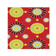 Sunflower Floral Red Yellow Black Circle Small Satin Scarf (square) by Alisyart