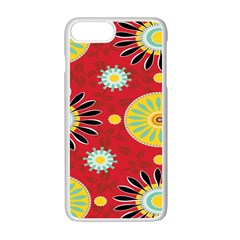 Sunflower Floral Red Yellow Black Circle Apple Iphone 7 Plus White Seamless Case by Alisyart