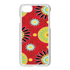 Sunflower Floral Red Yellow Black Circle Apple Iphone 7 Seamless Case (white) by Alisyart