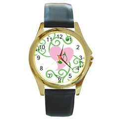 Sweetie Belle s Love Heart Music Note Leaf Green Pink Round Gold Metal Watch