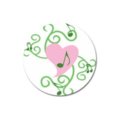 Sweetie Belle s Love Heart Music Note Leaf Green Pink Magnet 3  (round) by Alisyart