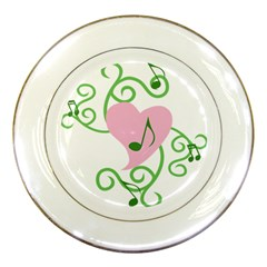 Sweetie Belle s Love Heart Music Note Leaf Green Pink Porcelain Plates by Alisyart