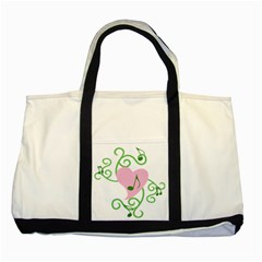 Sweetie Belle s Love Heart Music Note Leaf Green Pink Two Tone Tote Bag by Alisyart