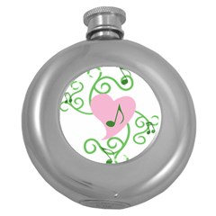 Sweetie Belle s Love Heart Music Note Leaf Green Pink Round Hip Flask (5 Oz) by Alisyart