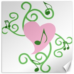 Sweetie Belle s Love Heart Music Note Leaf Green Pink Canvas 16  X 16   by Alisyart