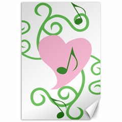 Sweetie Belle s Love Heart Music Note Leaf Green Pink Canvas 24  X 36  by Alisyart
