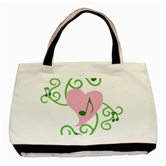 Sweetie Belle s Love Heart Music Note Leaf Green Pink Basic Tote Bag (two Sides) by Alisyart